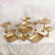 Set de 12 unidades de oro soporte de la torta de la magdalena de la boda set de cristal cúpula de cristal barra de chocolate decoración de la torta herramientas para hornear conjunto