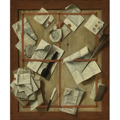 Attributed to Cornelis Norbertus Gijsbrechts ANTWERP, ACTIVE 1659 - AFTER 1683 TROMPE L'OEIL STILL LIFE OF LETTERS, A NEWSPAPER, A QUILL, A LETTER OPENER AND OTHER OBJECTS TACKED TO A WOOD BOARD oil on canvas