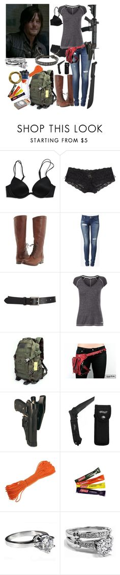 """""""The Walking Dead Daryl's Wife 16"""" by werewolf-gurl ❤ liked on Polyvore featuring Victoria's Secret, Frye, Hudson Jeans, Barneys New York, The North Face, Ultimate Survival Technologies, Handle and Novo"""
