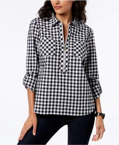 Tommy Hilfiger Cotton Half-Zip Printed Popover Top, Created for Macy's - Black XS Macys Womens Clothing, Gatsby Outfit, Hot Pink Blouses, Women's Evening Dresses, Black Tops, Tommy Hilfiger, Fashion Outfits, Fashion 2017, Clothes For Women