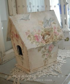 My lovely Hand painted Shabby Bluebird and Roses Birdhouse is available at www.debicoules.com This one is a fantastic size!
