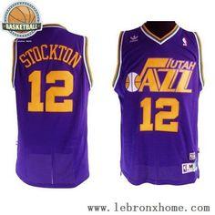 Utah Jazz 12 John Houston Stockton Retro Blue NBA Jersey