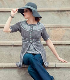 Grayscale allows the design elements of this twinset to shine; innovative shoulder shaping, a ripple pattern, and post stitches give tailored elements to the cardigan and shell of this classic look with mod, funky touches. Finished Size:
