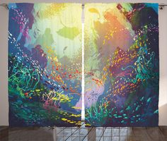 Peaches Fish with Coral Reef and Colorful Fish Aquarium Artistic Home Art Rod Pocket Curtain Panels