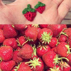 Little crochet strawberries. Part of assorted pin collection. Crochet Strawberry, Pin Collection, Strawberries, Workshop, My Etsy Shop, Atelier, Strawberry Fruit, Strawberry