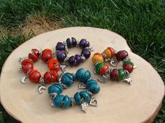Tagua nuts chunky bracelet and silver charms many colors available #Handmade