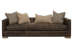 "Jackson 99"" Leather Sofa, Charcoal on OneKingsLane.com"