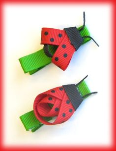 ladybug hair clips - My Photo Gallery … Ribbon Hair Clips, Hair Ribbons, Ribbon Art, Diy Hair Bows, Ribbon Crafts, Hair Barrettes, Ribbon Bows, Hairbows, Baby Girl Hair Bows