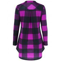 Plaid Split-Neck T-Shirt (VIOLET ROSE,XL) in Long Sleeves   DressLily.com