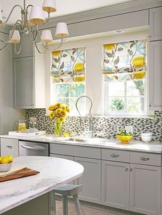 Window treatments are an important element in the kitchen, providing privacy, light control, and decoration. Take your kitchen to the next level with these 25 can't-miss ideas for boosting style and functionality! http://www.bhg.com/kitchen/remodeling/planning/kitchen-remodeling-tips/?socsrc=bhgpin122614&page=22