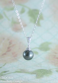 Black pearl pendant necklace | swarovski pearl pendant necklace | Other pearl colors available | www.endorajewellery.etsy.com