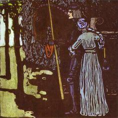 Kandinsky, Abschied. Grosse Fassung, 1903, bois en couleurs, 31,2 x 31,2 cm, Galerie Tretiakov, Moscou