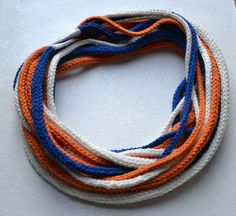 Knitted i-cord scarf for men Multi strand fiber necklace Blue white and orange scarf Knit jewelry
