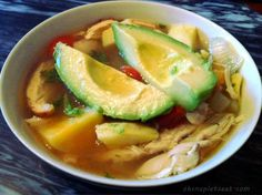 Healthy Mexican Chicken Soup~ also add red bell pepper, taco seasoning & cumin