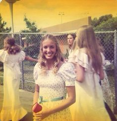 1970s - girls in white dresses with blue satin sashes . . .