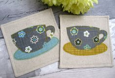 Set of 2 Drinks Coasters - Retro Tea Cup Coasters - Mug Mats - Free Motion Appliqué - Decorative Mats - Retro Gift by TheCornishCoasterCo on Etsy