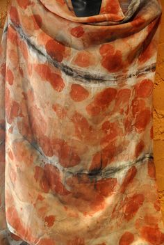 Ecoprint on silk and wool. by sandfisher, via Flickr