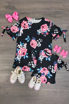 e567d09ca5d Mom   Me - Midnight Floral Tie Sleeve Top. Floral Tie