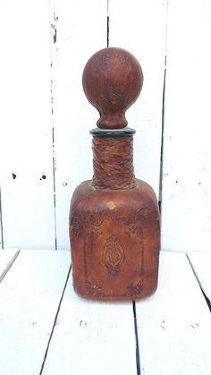 Old Leather Bottle Vintage Liquor Decanter by Swede13Cottage