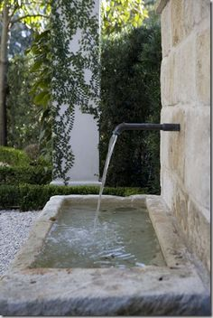 Stone Fountains via Chateau Domingue Outdoor Water Features, Water Features In The Garden, Pool Water Features, Stone Fountains, Garden Fountains, Wall Fountains, Water Garden, Cacti Garden, Dream Garden