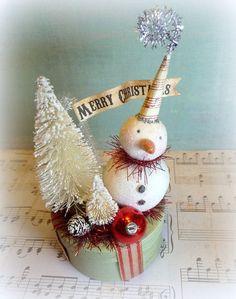 antique snowmen decorations   ... Decor Vintage Inspired Snowman Folk Art Christmas Decoration