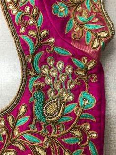 55 Latest Maggam Work Blouse Designs that will inspire you - Wedandbeyond Peacock Blouse Designs, Peacock Embroidery Designs, Wedding Saree Blouse Designs, Simple Blouse Designs, Silk Saree Blouse Designs, Blouse Neck Designs, Hand Work Blouse Design, Maggam Work Designs, Churidar