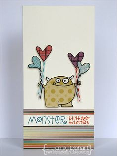 card by Emily Leiphart.  I love the little monsters.  Have the cricut cart Mini Monsters.  Would make a darling card for a boy.