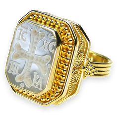 Athena's Treasures - Damaskos Carved Cross Intaglio Ring, $1,282.94 (http://www.athenas-treasures.com/products/Damaskos-Carved-Cross-Intaglio-Ring.html)