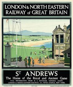 Andrews Vintage Golf Poster Throw Pillow by Vintage Vault - Cover x with pillow insert - Indoor Posters Uk, Railway Posters, Train Posters, Golf Pictures, Golf Images, Nostalgia, British Travel, Golf Art, Vintage Golf