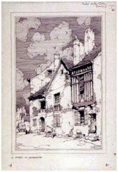Samuel Chamberlain (1875-1975, American) - A street in Romorantin - 1922
