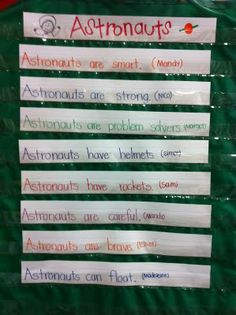 Cute ideas for Space unit and a great idea for using the 'can-have-are' charts!