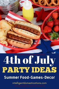 DIY Red white and blue decor ideas along with summer BBQ recipes and fun and games to enjoy at your 4th of July party or any summer party #4thofjuly Patrioticparty #summerparty #Backyardbbq #4thofjulyparty Creamy Cole Slaw Recipe, Creamy Coleslaw, Chopped Menu, Strawberry Watermelon Salad, Tropical Party Foods, Onion Burger, Boiled Food, Ginger Peach, Soda Recipe