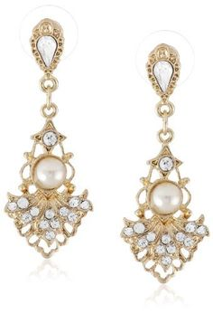 Downton Abbey Gilded Age Gold-Tone Crystal-Studded Fan Earrings with Faux Pearls. Heirloom-inspired earrings featuring elaborate gold-tone fans studded with small crystals and framing simulated pearls. Bullet-clutch-with-disc backings. 18k Gold Earrings, Platinum Earrings, Amethyst Earrings, Black Earrings, Crystal Earrings, Drop Earrings, Downton Abbey, Thing 1, Gilded Age