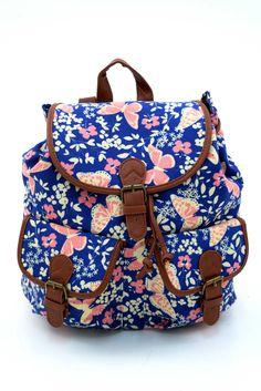Γυναικείο σακίδιο πλάτης με σχέδιο λουλούδια & πεταλούδες. Κλείνει με μαγνητικό κούμπωμα και το ύφασμα του είναι από εξαιρετικής ποιότητας canva. Backpacks, Fashion, Purse, Hands, Moda, Fashion Styles, Backpack, Fashion Illustrations, Backpacker