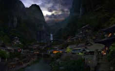 village fantasy japanese mountain japan mountains landscape hidden oriental china places nature amazing scenic wonderful its