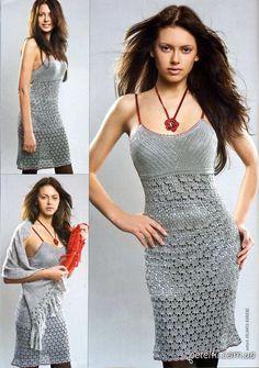 Нарядное платье на бретелях крючком. Схемы