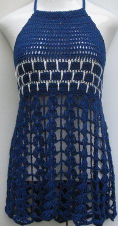 Crochet dress mini beach cover up festival top/ dress