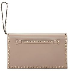 Valentino Powder Pink Rockstud Clutch ($1,285) ❤ liked on Polyvore featuring bags, handbags, clutches, brown leather handbags, genuine leather purse, brown handbags, pink purse and pink studded purse