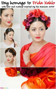 Get the look: Frida Kahlo-Inspired Hair: How to beautifully pay homage to one of the greatest Mexican artists of our time Costume Frida Kahlo, Frida Kahlo Makeup, Fridah Kahlo, Mexican Hairstyles, Mexican Artists, Mexican Dresses, Mexican Style, Mexican Party, Flowers In Hair