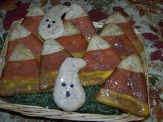 Primitive Halloween Candy Corn Bowl Fillers Faux Cookies