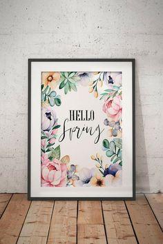 Hello spring #ad #spring #printable #etsyseller #celebratetheeveryday