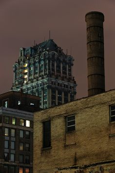book tower | detroit, michigan . my favorite building - those are the only lights that are ever occasionally lit.