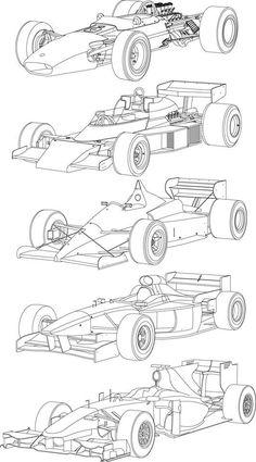 Open Wheel Evolution - Line Drawing