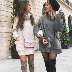 The Dress Shop and The Bikini Shop Online Women's Fashion Clothing Knit Sweater Dress, Loose Sweater, Sweater Outfits, Comfy Sweater, Classy Outfits, Chic Outfits, Pullover Outfit, Winter Stil, The Bikini