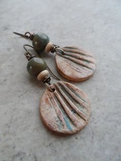 Fronds ... Polymer Clay Ceramic and Brass by juliethelen on Etsy