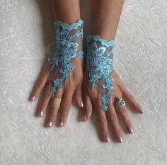 Tiffany blue Wedding gloves bridal lace gloves by GlovesByJana