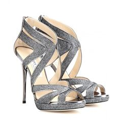 Jimmy Choo Collar Glittered-Canvas Sandals ($810) ❤ liked on Polyvore featuring shoes, sandals, heels, sapatos, high heels, metallic, canvas shoes, high heel sandals, glitter high heel shoes and jimmy choo shoes