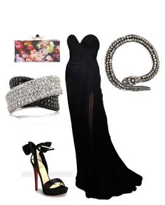 """""""Untitled #26039"""" by edasn12 ❤ liked on Polyvore featuring Elie Saab, Haute Hippie, Christian Louboutin, Ted Baker and Mark Broumand"""