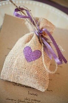 burlap wedding favor bag personalized with the accent color of your wedding
