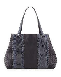Bottega Veneta Snake & Napa Leather Tote Bag